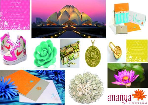 lotus, ananyacards, wedding invitations