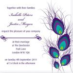 Wedding invitation with peacock design