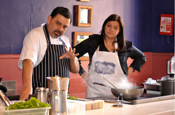 Cyrus Todiwala and Nina Wadia cooking