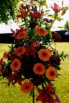 Orange wedding flower arrangement