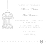 Grey birdcage theme wedding invitation