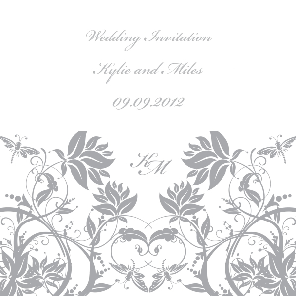 Grey floral wedding invitation