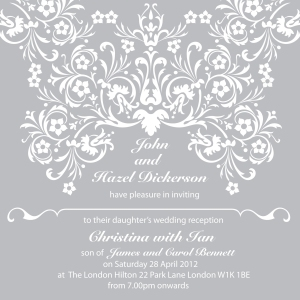Grey wedding invitation