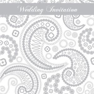 Grey paisley design wedding invitations
