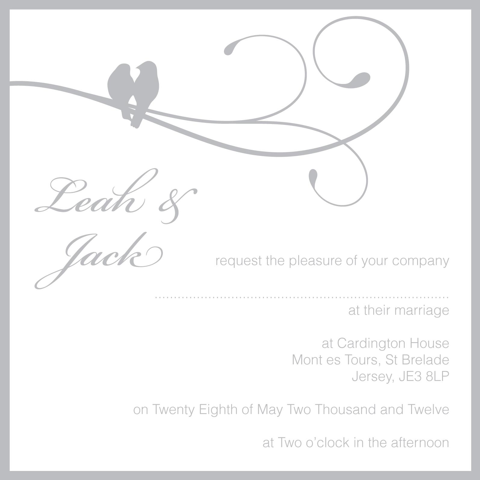 grey birdcage theme wedding invitation grey wedding invitation with two birds - What To Put On A Wedding Invitation