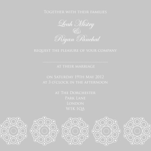 Grey wedding invitation with abstract design