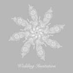 Grey snowflake wedding invitation