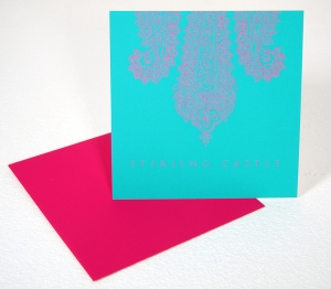pink and turquoise paisley wedding invitation
