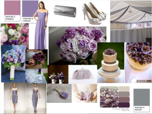purple and grey wedding moodboard