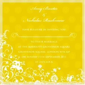 wedding invitation in spring wedding colours
