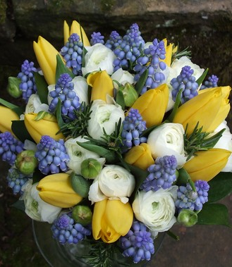 yellow and blue spring wedding bouquet