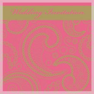 pink paisley wedding invitation