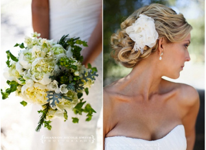 bride with updo and strapless bridal gown