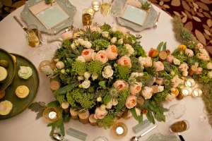 Mint and peach vintage wedding table stationery 2013