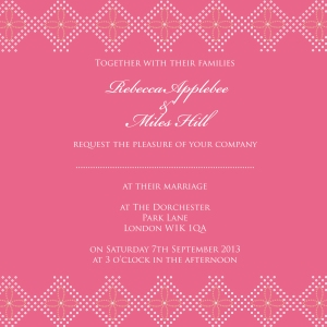 Bandhani Bliss India inspired pink wedding invitation by Ananyacards.com
