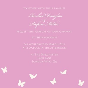 Pink butterfly fantasy, whimsical, princess wedding invitation by Ananyacards.com