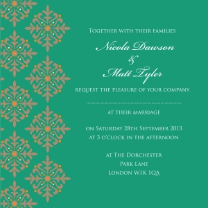 Exotic Emerald and gold Pantone's Color of the Year 2013 wedding invitation by Ananya