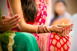 Indian wedding with brightly coloured saris