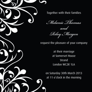 Classic monochrome black and white wedding invitation by Ananyacards.com