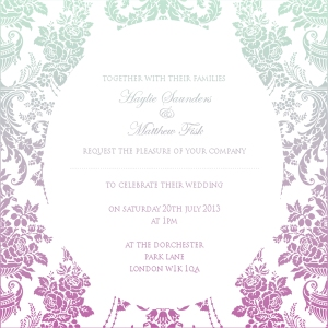 Ombre shaded green and purple wedding invitation by Ananyacards.com