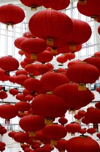 Red Paper Lanterns for Chinese New Year and 2013 Year of the Snake