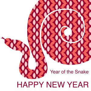 Red Year of the Snake card for Chinese New Year