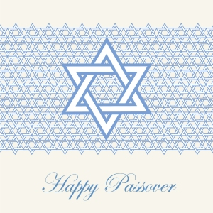 Blue star of David Passover and Pesach greeting ca