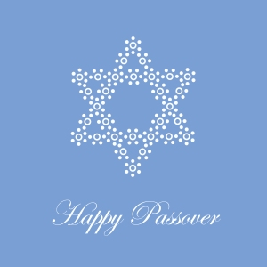 Blue star of David greeting card for Passover and Pesach