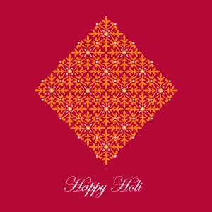 red and orange Happy Holi greeting card for festival of colours