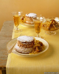 Saffron cake with lemon-fig compote