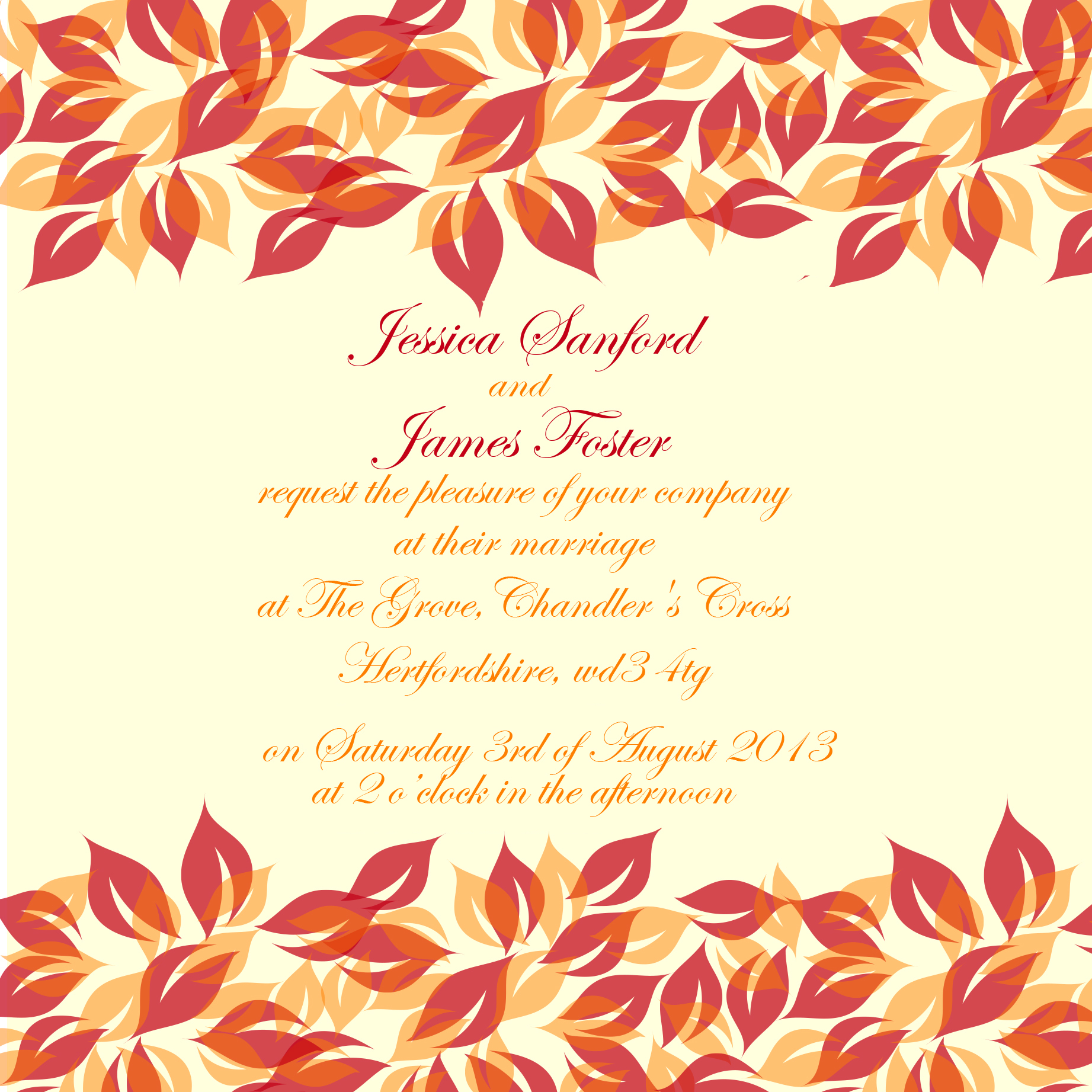 autumn winter wedding stationery trends autumn wedding invitations Red and orange leaves wedding invitation for Autumn Winter trends by Ananyacards com