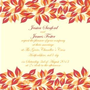 Red and orange leaves wedding invitation for Autumn Winter 2013 trends by Ananyacards.com