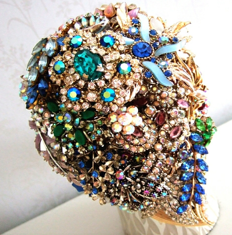 wedding bouquet made from jewellery