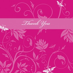 hot pink thank you card